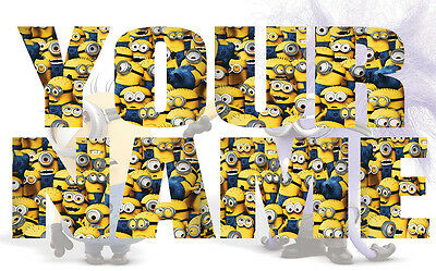Personalised Kids Minions Name Wall decal stickers *3 SIZES* Decor Bedroom Art