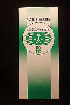 Wolrds Fair Expo 1986 Vancouver Kingdom Of Saudi Arabia Facts & Figs. Brochure