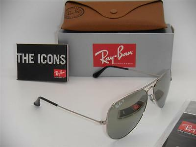 Authentic Ray-Ban Aviator RB 3025 003/59 Silver / Silver Mirror Polarized 58mm
