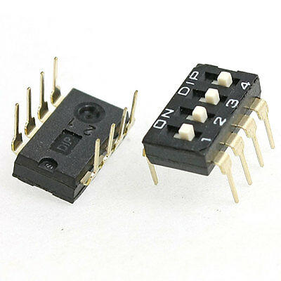 5 Pcs 2.54mm Pitch 4 Position IC Type DIP Switch Black