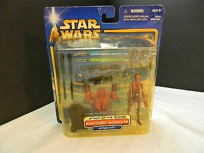 Star Wars AOTC Saga Deluxe ARENA CONFLICT ACCESSORY SET w/Battle Droid  HT
