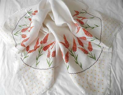Vintage C1950'S Hand Embroidered Linen Table Cloth Large Orange Flowers To Cnrs