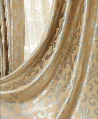 QUALITY BLOCKOUT EYELET CURTAINS scroll pattern