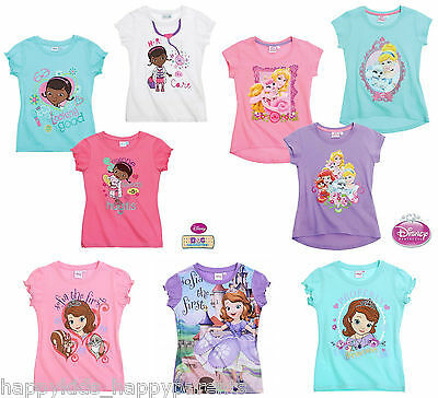 New Girls CHARACTER Disney SHORT SLEEVED Top T- SHIRT Age 2 3 4 5 6 7 8 Years