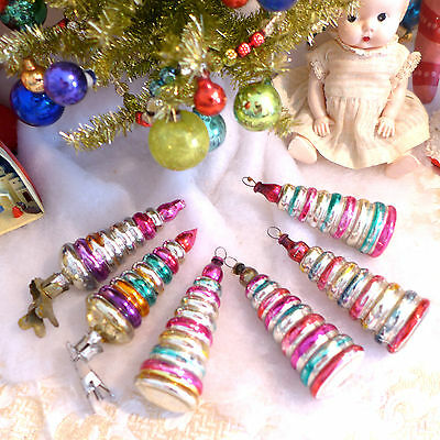 6 Vtg Candles Xmas Tree embossed ringed Blown Glass Ornaments metal clip Icicles