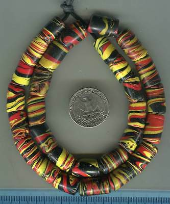 African Trade beads Vintage Venetian glass fancy swirl beads black red yellow