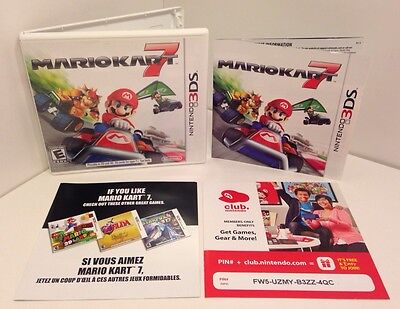 Nintendo 3DS Mario Kart 7 Case + Manual + Inserts Only *NO GAME*