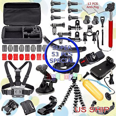 53in1 Head Chest Mount Floating Monopod Car 360 Clip Kit For GoPro 2 3 4