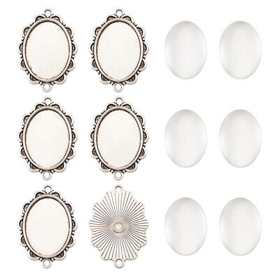 5sets 25x18mm Oval Dome Clear Glass Cover Alloy Cabochon Connector Pendant Trays