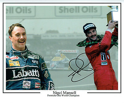 Nigell MANSELL Signed Autograph MASSIVE Montage F1 Photo AFTAL COA