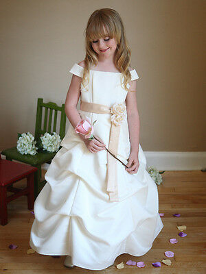 Adorable Satin A-Line Pick-Up Long Flower Girl Dress Sleeves Junior Bridesmaid