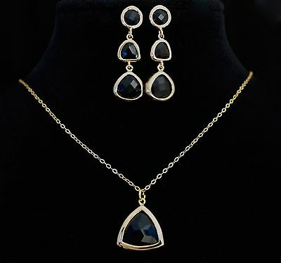 Jewelry Set Necklace Earring 16K Gold Plated 925 Sterling Silver Chain Jet Black