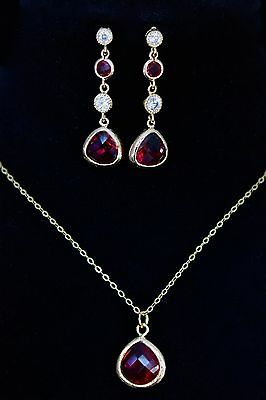 Red Bridal Necklace Earrings 16K Gold Plated 925 Sterling Silver Chain CZ Set