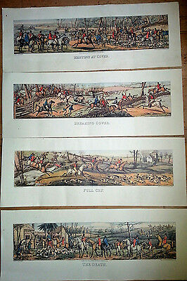 Four Very Large Long Antique Vintage Fox Hunting Horse Racing Sporting prints