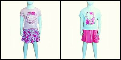 Girls two piece outfit -  Hello Kitty Short Sleeve T-Shirt and Skirt age 4 years