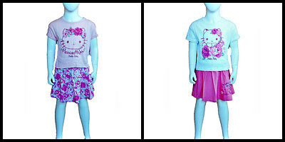 Girls two piece outfit -  Hello Kitty Short Sleeve T-Shirt and Skirt set 6-10yrs