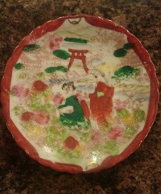 Japanese geisha scene plates set of 5 and 4 smaller
