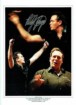 Bobby GEORGE Signed Autograph The King of Darts 16x12 Montage Photo AFTAL COA