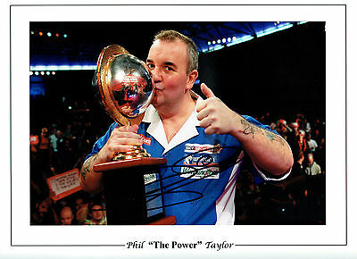 Phil TAYLOR World Champion Signed Autograph Darts 16x12 Photo AFTAL COA