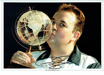 Phil TAYLOR THE POWER Signed Autograph Champion Darts Player 16x12 Photo AFTAL