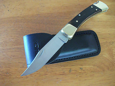 "Buck 110 Folding Hunter 4 7/8"" Genuine Made In U.s.a.  With Real Leather Pouch"