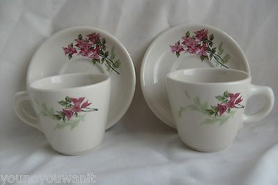 2 Syracuse China 1955-56 Red Trillium Flower Cups Saucer Set  3-KK 11-JJ 12-JJ