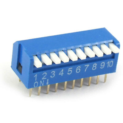10 Pcs 2.54mm Pitch 10 Position Slide Type DIP Switch Blue