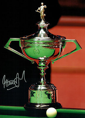 Steve DAVIS Signed Autograph Large 16x12 World SNOOKER Trophy Photo AFTAL COA