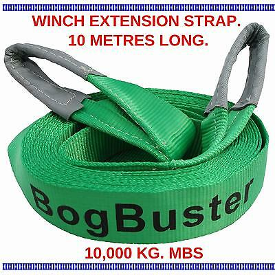 Winch Strap Extension Recovery Bogbuster Tow 10000 Kg Mbs 10 Metre 4X4 Tow 4Wd