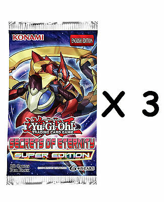 3X Yu-Gi-Oh Secrets Of Eternity Super Edition New Look: 3 Boosters-28 Cards Each