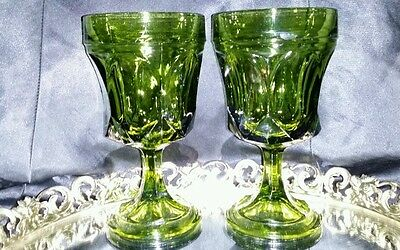 Vintage Avocado Green Glass Fostoria Water/Wine Goblets/Arch Thumbprint/Wide Rim