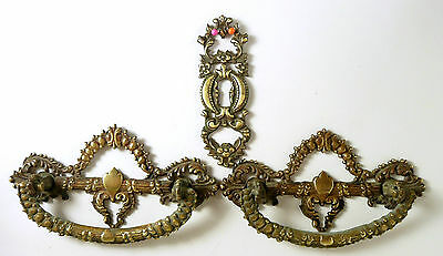 Original Victorian Brass 2 Drawer Pulls & Escutcheon
