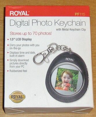"Royal Digital Photo Keychain with Metal Keychain Clip - 1.5"" LCD Display New"