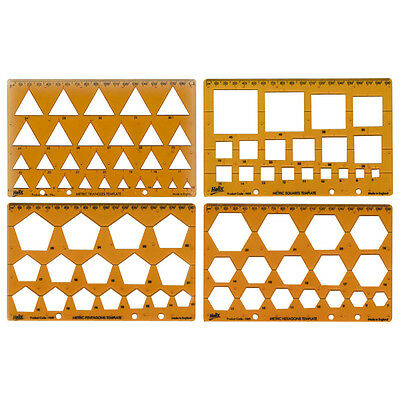 Helix Shape Template Pack.Triangle, Square Pentagon, Hexagon. Ref H60010