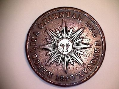 Very Very Rareee!!!  Uruguay - 20 Centesimos Year 1840 - Very Fine!!