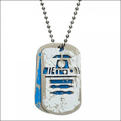 Star Wars R2D2 R2-D2 Metal Figure Dog Tag Neck Chain Necklace LICENSED OFFICIAL
