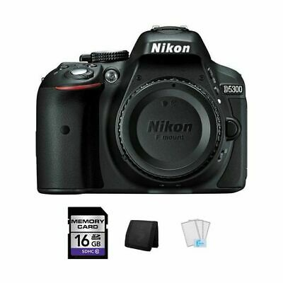 Nikon D5300 DSLR Camera - Black + 16GB, Memory Card Wallet & Screen Protectors