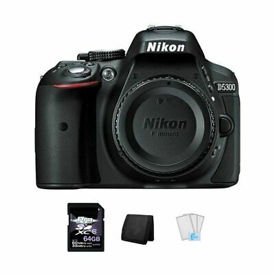Nikon D5300 DSLR Camera - Black + 64GB, Memory Card Wallet & Screen Protectors