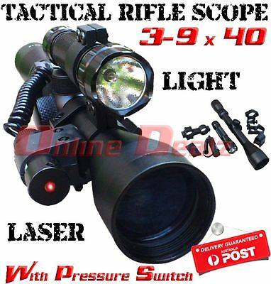 3-9x40 Tactical Rifle Scope With Flashlight and Laser + Pressure Switch Hunting