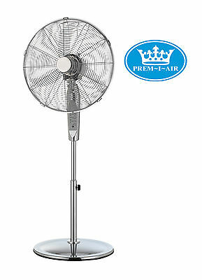 """Prem-I-Air 16"""" Inch Home Office Chrome Pedestal Fan with Remote Control + Timer"""