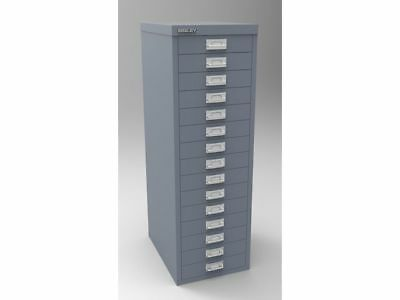 GRANITE GREY 15 MULTI DRAWER 'BISLEY' FILING CABINET - NEW 860H x 279W x 380D mm