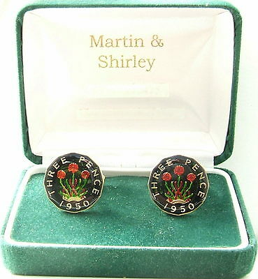1950 Threepence cufflinks from real coins Black & Gold & Colours