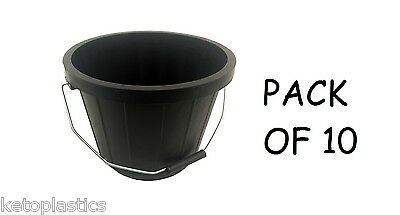 Pack Of 10 Black Buckets 2 Gallon - Heavy Duty With Metal Handle