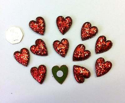 12 Chunky Padded Glitter Heart Embellishments Red New C1191