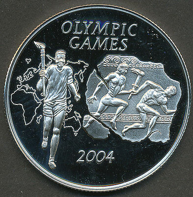 Ghana 2004 500 Sika Silver Coin Proof - Athens Olympic Games - Runner with Torch