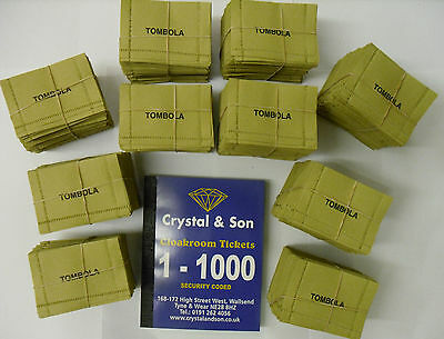 Tombola Tickets 1000 & Cloakroom Book 1- 1000 Fundraising, Fete, Summer Fayre