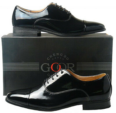 Mens New Black Leather Lined Patent Oxford Capped Formal Shoes 6 7 8 9 10 11 12
