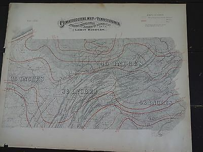 1872 Hand-Colored Climatographical map of Pennsylvania/Avg. Temp & Rainfalls