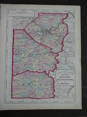1872 Hand-Colored Map of PA/Counties of Allegheny, Washington & Greene