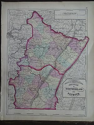 1872 Hand-Colored Map of PA/Counties of Westmoreland and Fayette